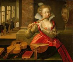 Flötenspielerin (Allegorie der Musik?)