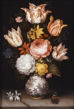 Flowers in a Wan-Li Vase with a Butterfly