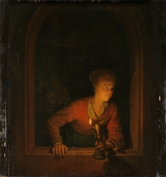 Girl with an Oil Lamp at a Window