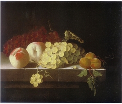 Grapes, Peaches and Apricots on a Stone Plinth