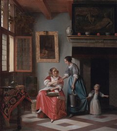 Interior with a young lady handing a coin to a maidservant