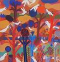 island of white birds