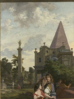 Italian Landscape with three Women in the foreground