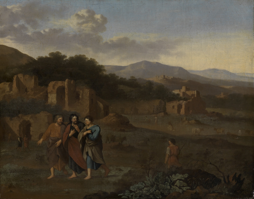 Italianate landscape with Christ and two disciples on the road to Emmaus