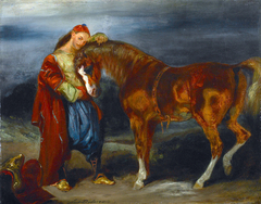 Jeune Turc caressant son cheval