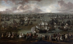 King Louis XIV, King of France (1638–1715) reviewing his Fleet at Dunkirk, met by Representatives of the City