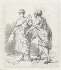 Laenas trekt een cirkel in het zand rond Antiochus IV Epiphanes