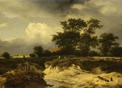 Landscape, a brook and farm-house among trees
