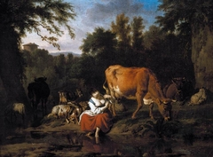 Landscape with a shepherdess and cattle on the bank of a stream