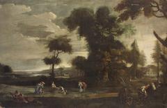 Landscape with love couple