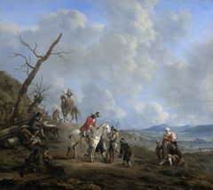 Landscape with riders, hunsters and peasants