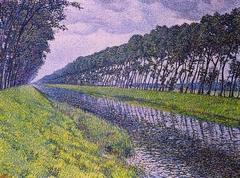 Le canal en Flandre par temps triste