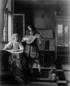 Man playing a lute and woman singing in an interior