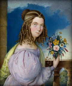 Miniature of a girl with a bouquet.