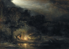 Nocturnal Landscape with the Holy Family resting on the flight into Egypt