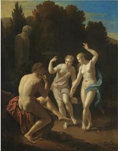 Nymphs dancing to a Pipe-playing Shepherd