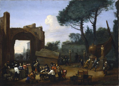 Outdoor party with Roman artists