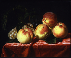 Peaches and Grapes on a Draped Table
