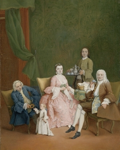 Portrait of a Venetian Family with a Manservant Serving Coffee