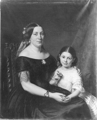 Portret van een dame met kind