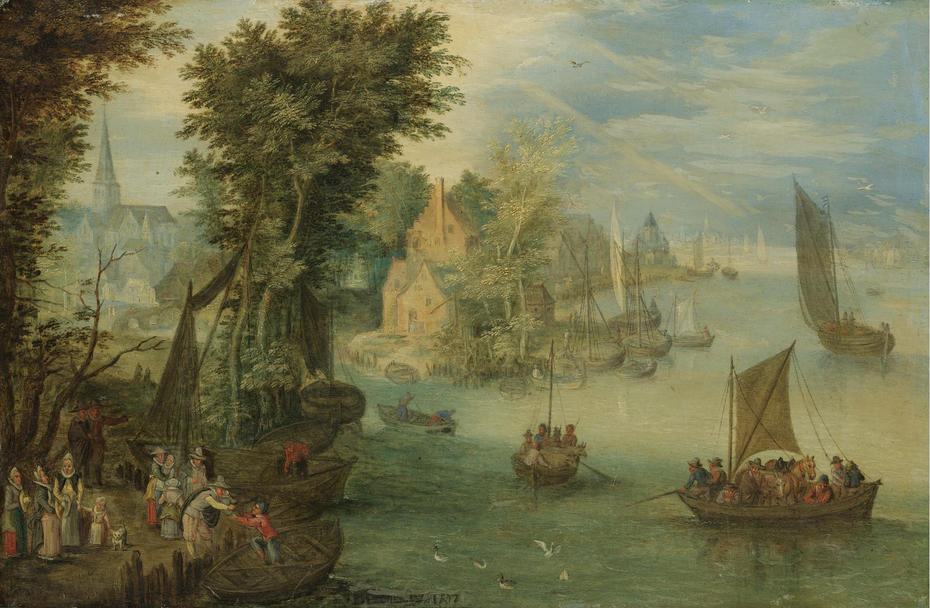 River Landscape with Figures on a Quay before a Town
