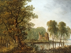 Romantic Lake Landscape with Ruins
