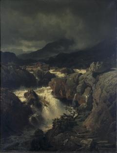 Rotslandschap met waterval in Noorwegen