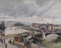 Rouen. Les ponts Boieldieu et Corneille, effet de pluie