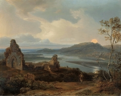 Ruin of a Chapel near a River with Rising Moon