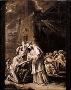 Saint Charles Borromeo visiting the Poor during the Plague