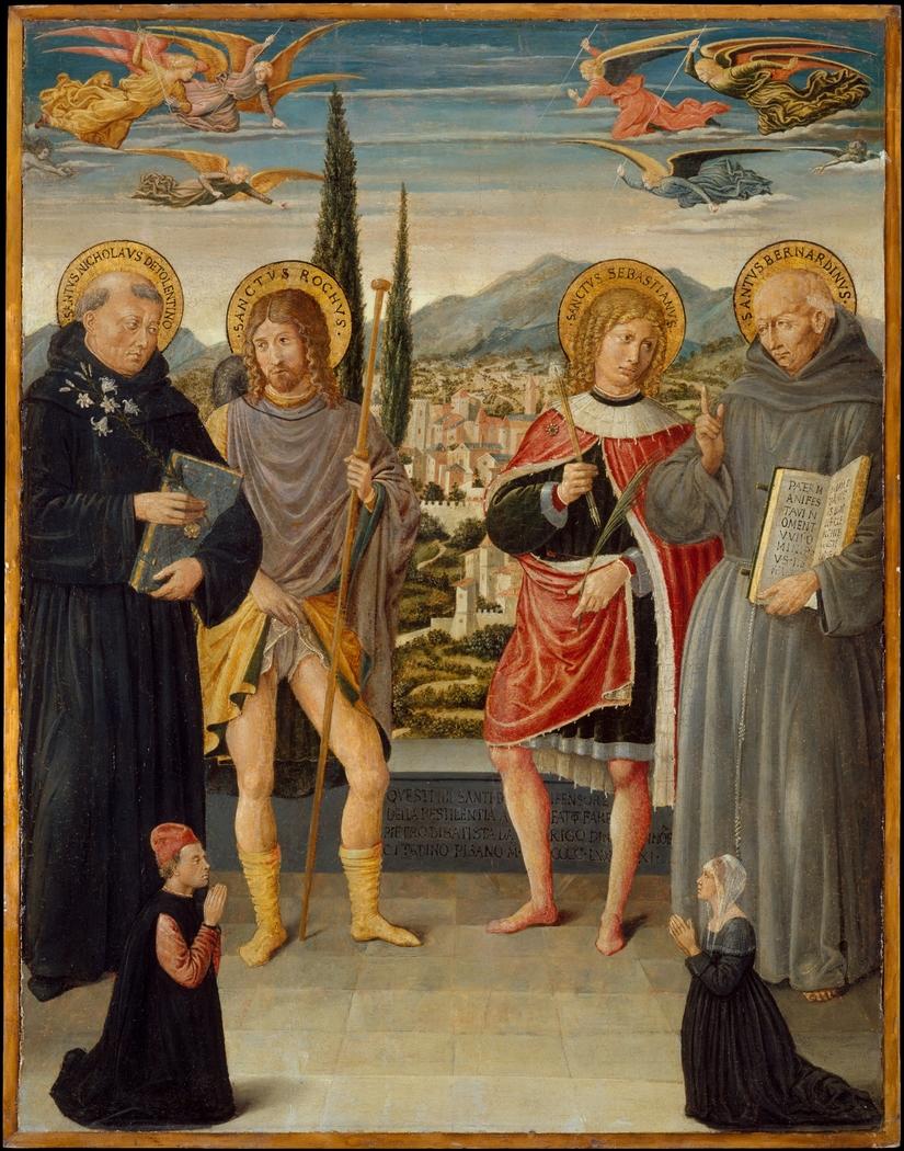 Saints Nicholas of Tolentino, Roch, Sebastian, and Bernardino of Siena, with Kneeling Donors
