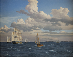 Ships in the Sound North of Kronborg Castle, Elsinore