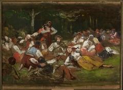 """Sketch for """"Harvesters resting"""""""