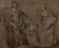 Sketch of Charles I and Queen Henrietta Maria with their two eldest children, Prince Charles and Princess Mary