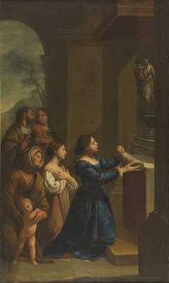 St Cajetan offered to the Virgin by his mother