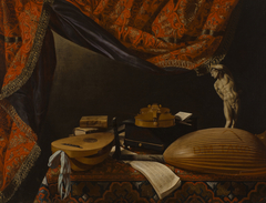 Still Life with Musical Instruments, Books and Sculpture