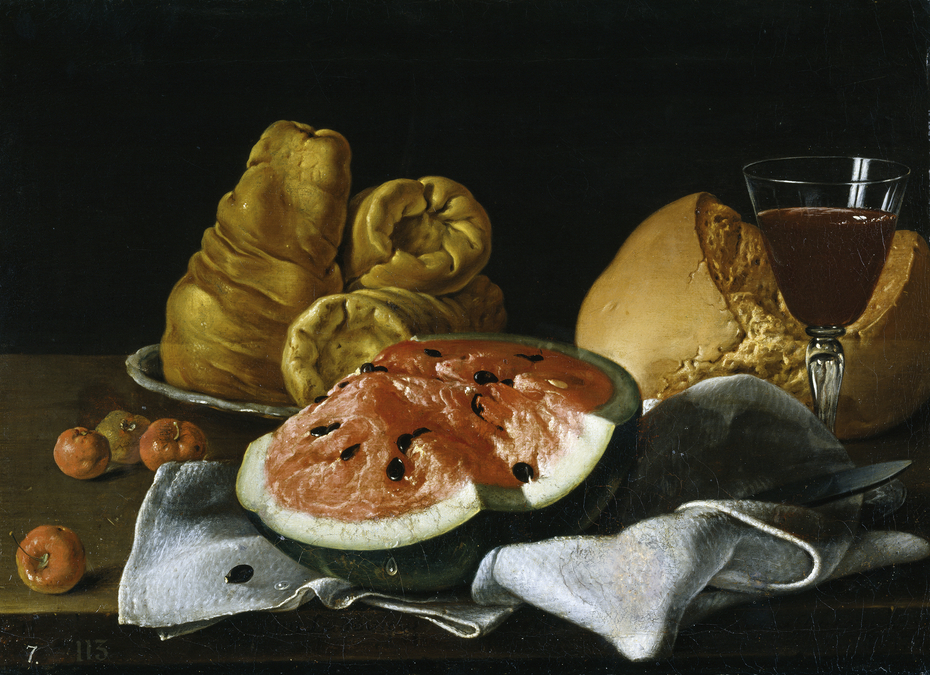 Still Life with Watermelon, Pastries, Bread, and Wine