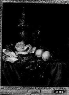 Stilleven met verguld zilveren beker, oester en een geschilde citroen