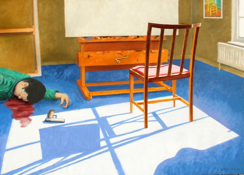 'Suicide: the artist's final career move', (2006) 140 x 100 cm, Oil on Linen.