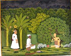 Swami Haridasa with Tansen and Akbar at Vrindavana