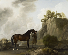 The Marquess of Rockingham's Arabian Stallion led by a Groom at Creswell Crags