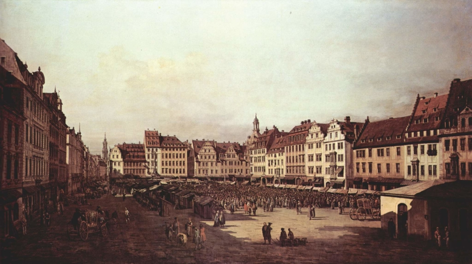 The Old Market in Dresden from Seegasse