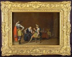 Twee krijgslieden en een vrouw in een vertrek