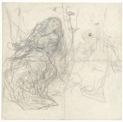 Twee schetsen van een meisje met vlinders