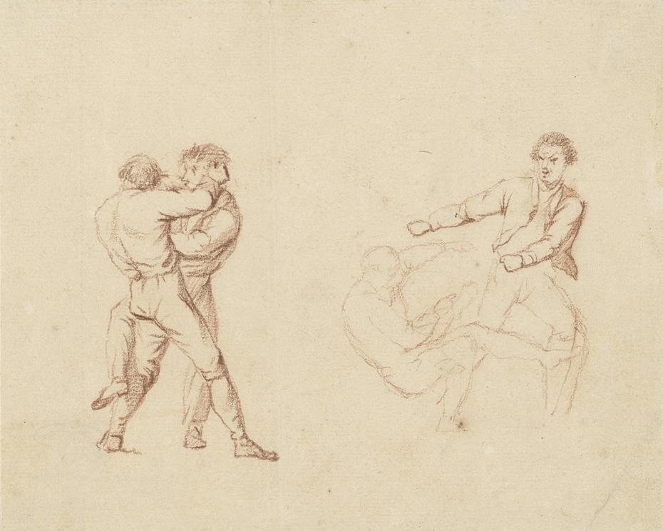 Twee studies van twee vechtende mannen