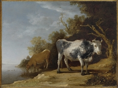 Two Cows beside a Stream