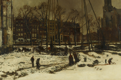 Doorbraak van de Raadhuisstraat in de winter