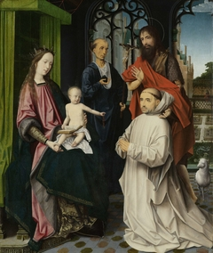 Virgin and Child Enthroned, with Saints Jerome and John the Baptist and a Carthusian Monk