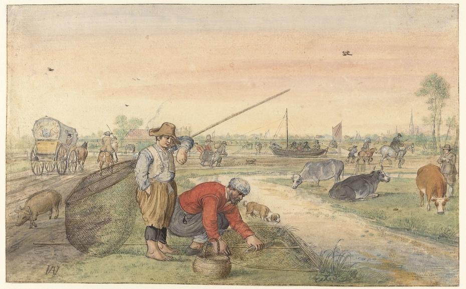 Vissers met schepnetten langs een jaagpad