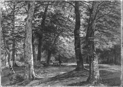 Waldweg mit Jäger